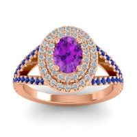 Ornate Oval Halo Dhala Amethyst Ring with Diamond and Blue Sapphire in 14K Rose Gold