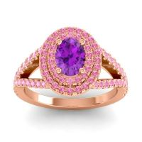 Ornate Oval Halo Dhala Amethyst Ring with Pink Tourmaline in 18K Rose Gold