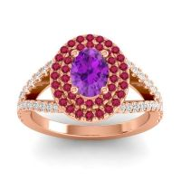 Ornate Oval Halo Dhala Amethyst Ring with Ruby and Diamond in 18K Rose Gold