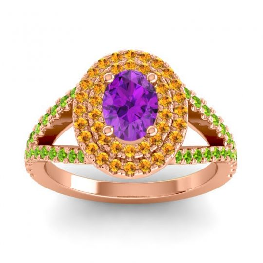 Ornate Oval Halo Dhala Amethyst Ring with Citrine and Peridot in 18K Rose Gold