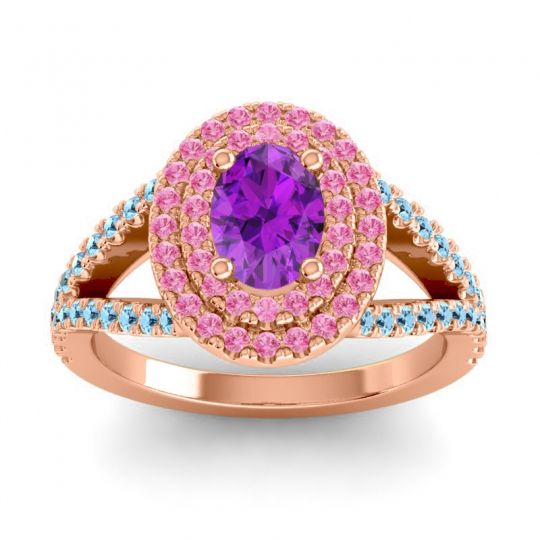 Ornate Oval Halo Dhala Amethyst Ring with Pink Tourmaline and Aquamarine in 14K Rose Gold