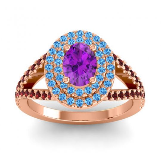 Ornate Oval Halo Dhala Amethyst Ring with Swiss Blue Topaz and Garnet in 14K Rose Gold