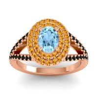 Ornate Oval Halo Dhala Aquamarine Ring with Citrine and Black Onyx in 18K Rose Gold