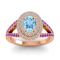 Ornate Oval Halo Dhala Aquamarine Ring with Diamond and Amethyst in 18K Rose Gold