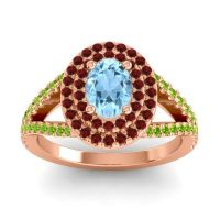 Ornate Oval Halo Dhala Aquamarine Ring with Garnet and Peridot in 14K Rose Gold