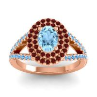 Ornate Oval Halo Dhala Aquamarine Ring with Garnet and Swiss Blue Topaz in 14K Rose Gold