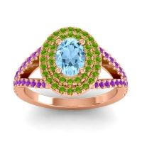 Ornate Oval Halo Dhala Aquamarine Ring with Peridot and Amethyst in 14K Rose Gold