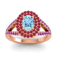 Ornate Oval Halo Dhala Aquamarine Ring with Ruby and Amethyst in 18K Rose Gold