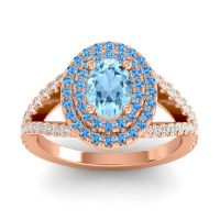 Ornate Oval Halo Dhala Aquamarine Ring with Swiss Blue Topaz and Diamond in 18K Rose Gold