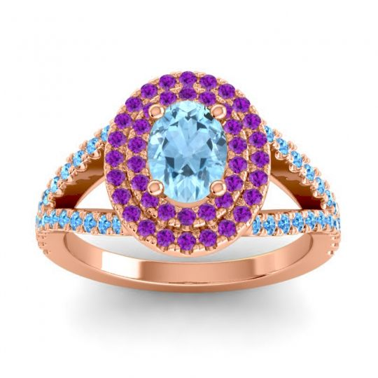 Ornate Oval Halo Dhala Aquamarine Ring with Amethyst and Swiss Blue Topaz in 18K Rose Gold