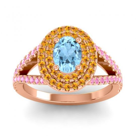 Ornate Oval Halo Dhala Aquamarine Ring with Citrine and Pink Tourmaline in 18K Rose Gold