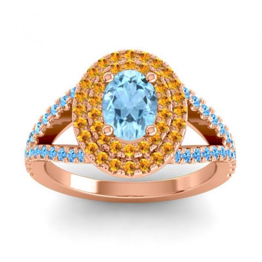 Ornate Oval Halo Dhala Aquamarine Ring with Citrine and Swiss Blue Topaz in 14K Rose Gold