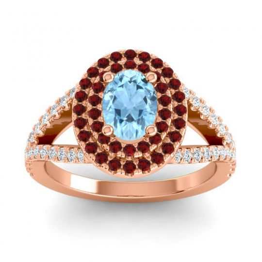 Ornate Oval Halo Dhala Aquamarine Ring with Garnet and Diamond in 14K Rose Gold