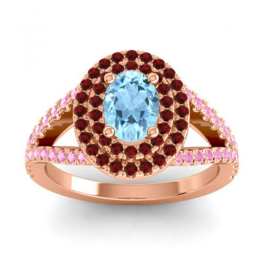 Ornate Oval Halo Dhala Aquamarine Ring with Garnet and Pink Tourmaline in 14K Rose Gold