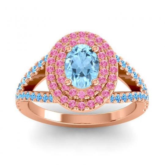 Ornate Oval Halo Dhala Aquamarine Ring with Pink Tourmaline and Swiss Blue Topaz in 14K Rose Gold
