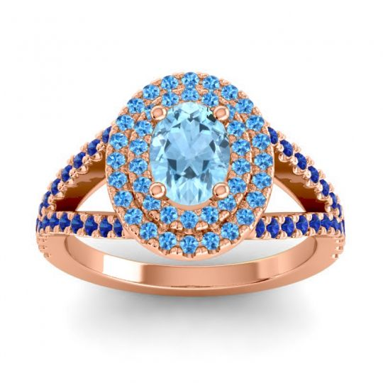 Ornate Oval Halo Dhala Aquamarine Ring with Swiss Blue Topaz and Blue Sapphire in 14K Rose Gold