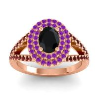 Ornate Oval Halo Dhala Black Onyx Ring with Amethyst and Garnet in 14K Rose Gold