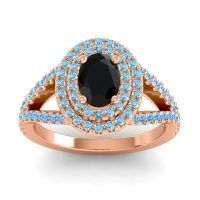 Ornate Oval Halo Dhala Black Onyx Ring with Aquamarine and Swiss Blue Topaz in 18K Rose Gold