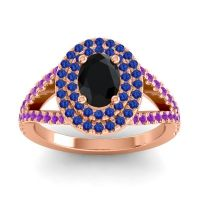 Ornate Oval Halo Dhala Black Onyx Ring with Blue Sapphire and Amethyst in 18K Rose Gold