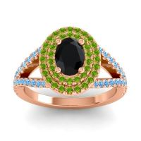 Ornate Oval Halo Dhala Black Onyx Ring with Peridot and Swiss Blue Topaz in 18K Rose Gold