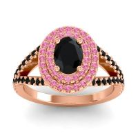 Ornate Oval Halo Dhala Black Onyx Ring with Pink Tourmaline in 18K Rose Gold
