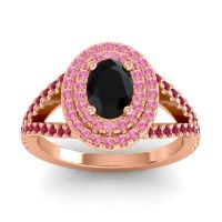 Ornate Oval Halo Dhala Black Onyx Ring with Pink Tourmaline and Ruby in 14K Rose Gold