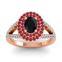 Ornate Oval Halo Dhala Black Onyx Ring with Ruby and Aquamarine in 14K Rose Gold