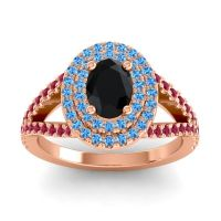 Ornate Oval Halo Dhala Black Onyx Ring with Swiss Blue Topaz and Ruby in 14K Rose Gold