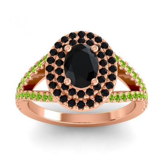 Ornate Oval Halo Dhala Black Onyx Ring with Peridot in 14K Rose Gold