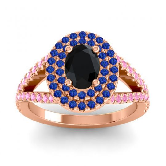 Ornate Oval Halo Dhala Black Onyx Ring with Blue Sapphire and Pink Tourmaline in 18K Rose Gold