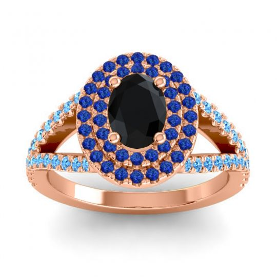 Ornate Oval Halo Dhala Black Onyx Ring with Blue Sapphire and Swiss Blue Topaz in 18K Rose Gold