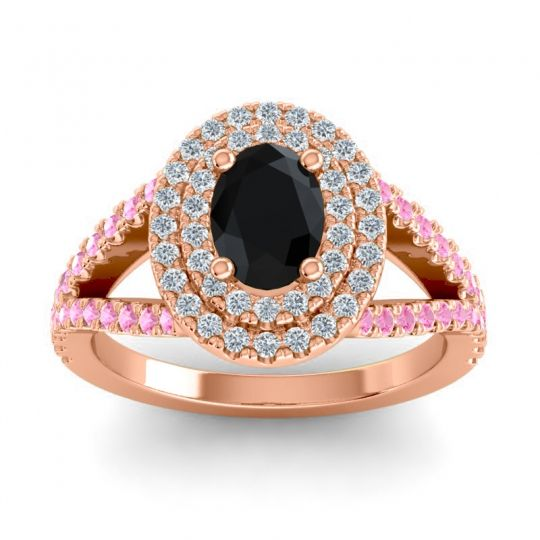 Ornate Oval Halo Dhala Black Onyx Ring with Diamond and Pink Tourmaline in 14K Rose Gold