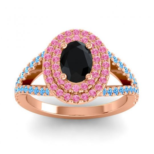 Ornate Oval Halo Dhala Black Onyx Ring with Pink Tourmaline and Swiss Blue Topaz in 18K Rose Gold