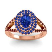 Ornate Oval Halo Dhala Blue Sapphire Ring with Garnet in 18K Rose Gold