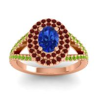 Ornate Oval Halo Dhala Blue Sapphire Ring with Garnet and Peridot in 18K Rose Gold