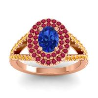 Ornate Oval Halo Dhala Blue Sapphire Ring with Ruby and Citrine in 14K Rose Gold
