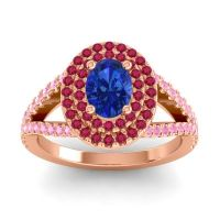 Ornate Oval Halo Dhala Blue Sapphire Ring with Ruby and Pink Tourmaline in 14K Rose Gold