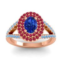 Ornate Oval Halo Dhala Blue Sapphire Ring with Ruby and Swiss Blue Topaz in 18K Rose Gold