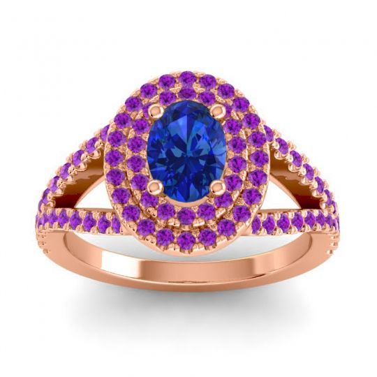 Ornate Oval Halo Dhala Blue Sapphire Ring with Amethyst in 14K Rose Gold