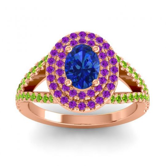 Ornate Oval Halo Dhala Blue Sapphire Ring with Amethyst and Peridot in 18K Rose Gold