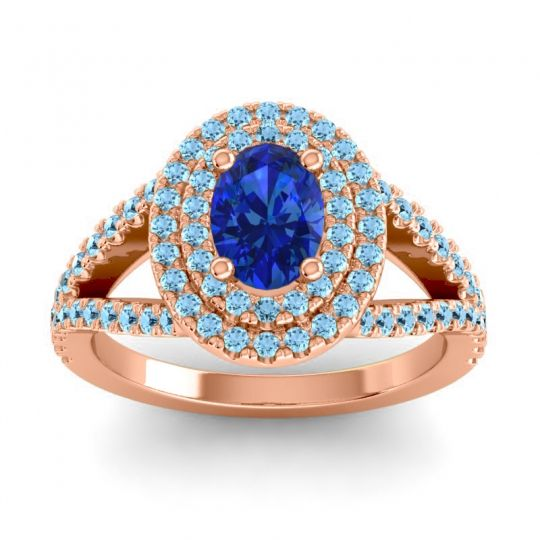 Ornate Oval Halo Dhala Blue Sapphire Ring with Aquamarine in 18K Rose Gold