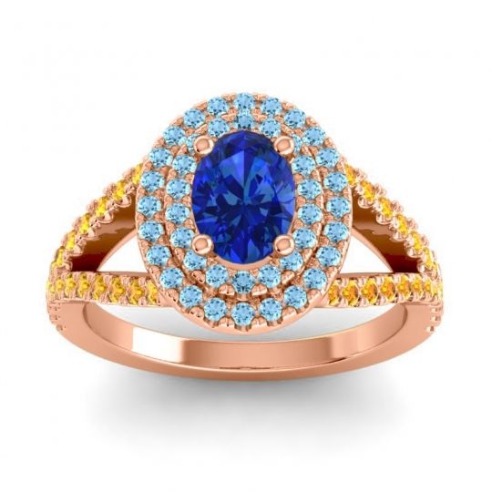 Ornate Oval Halo Dhala Blue Sapphire Ring with Aquamarine and Citrine in 14K Rose Gold
