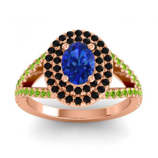 Ornate Oval Halo Dhala Blue Sapphire Ring with Black Onyx and Peridot in 14K Rose Gold