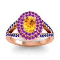 Ornate Oval Halo Dhala Citrine Ring with Amethyst and Blue Sapphire in 18K Rose Gold