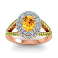 Ornate Oval Halo Dhala Citrine Ring with Aquamarine and Peridot in 14K Rose Gold