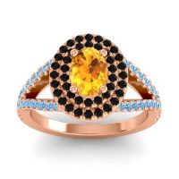Ornate Oval Halo Dhala Citrine Ring with Black Onyx and Swiss Blue Topaz in 14K Rose Gold