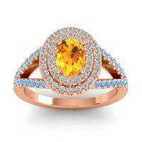 Ornate Oval Halo Dhala Citrine Ring with Diamond and Swiss Blue Topaz in 18K Rose Gold