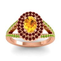 Ornate Oval Halo Dhala Citrine Ring with Garnet and Peridot in 14K Rose Gold