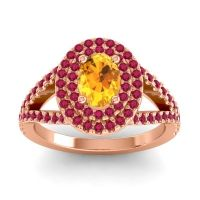 Ornate Oval Halo Dhala Citrine Ring with Ruby in 14K Rose Gold