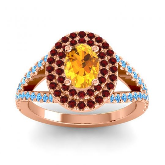 Ornate Oval Halo Dhala Citrine Ring with Garnet and Swiss Blue Topaz in 14K Rose Gold